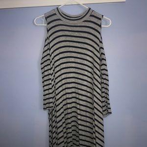 Open shoulder striped shift dress